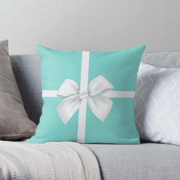 Blue Gift Box White Bow Throw Pillow