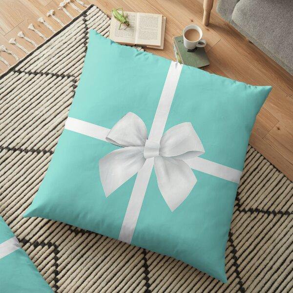 Blue Gift Box White Bow Floor Pillow