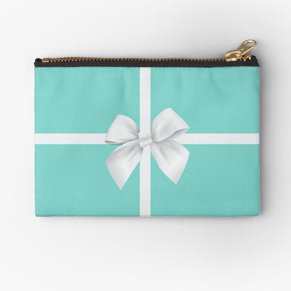 Blue Gift Box White Bow Zipper Pouch