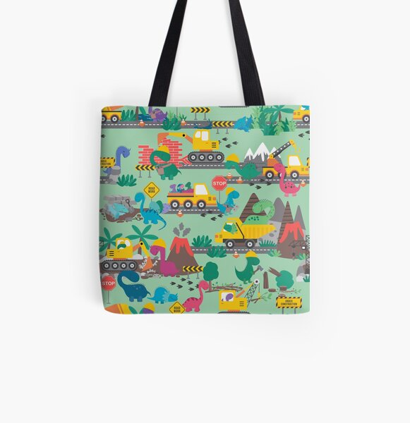Dino Construction Dinosaurs at Work Pattern All Over Print Tote Bag