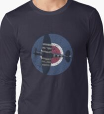 Vintage Fighter Plane Supermarine Spitfire Mark 19 Long Sleeve T-Shirt