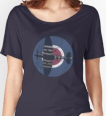 Vintage Fighter Plane Supermarine Spitfire Mark 19 Women's Relaxed Fit T-Shirt
