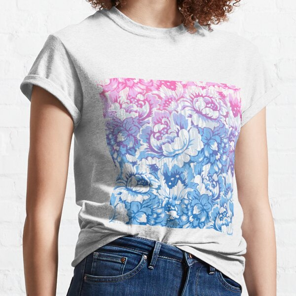Blue and pink baroque roses pattern on a white background Classic T-Shirt