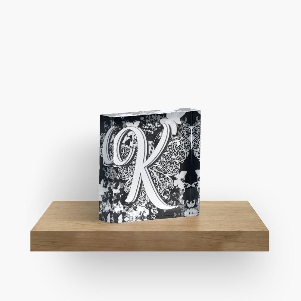 The Letter K: Decorative Monogram Single Initial Acrylic Block