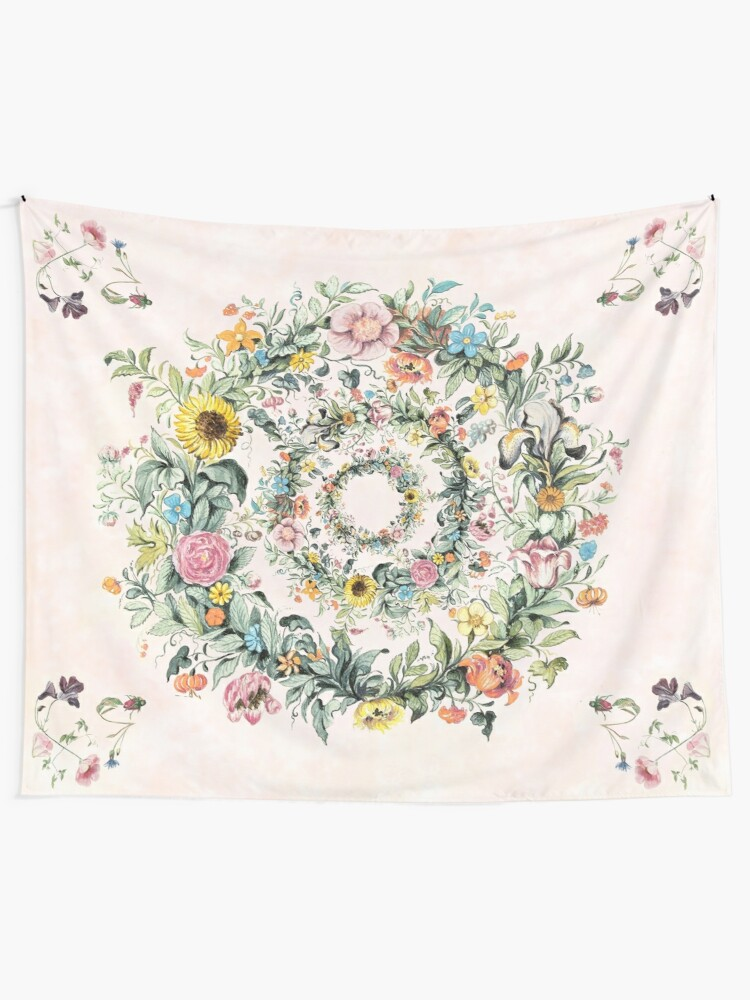 Alternate view of Circle of life-floral painting Tapestry