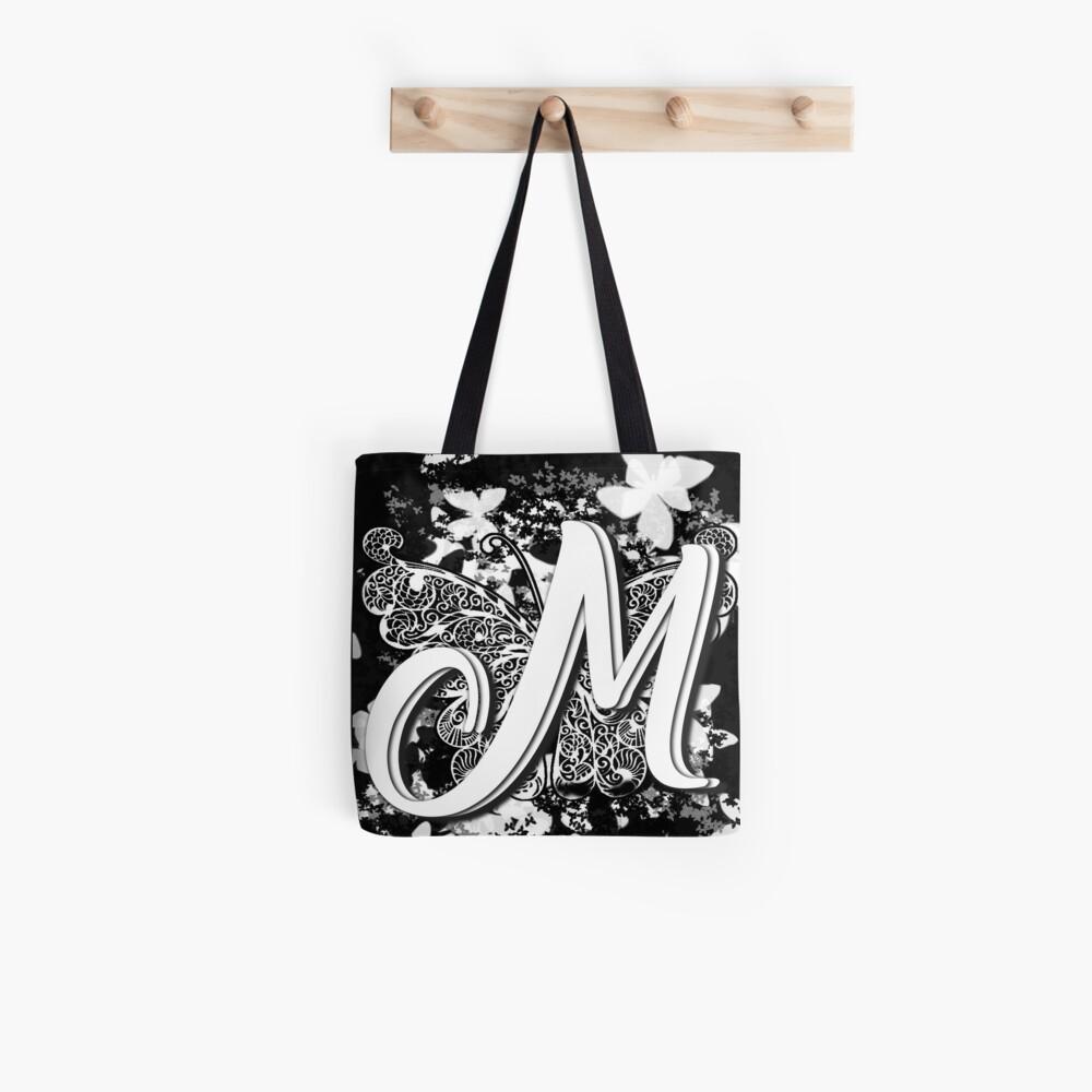 The Letter M: Decorative Monogram Single Initial Tote Bag