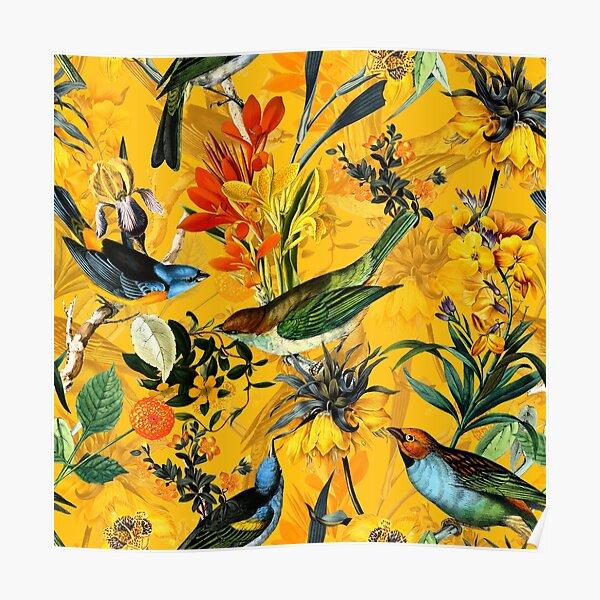 Pierre Joseph Redoute vintage flowers and hummingbirds nostalgic pattern Poster