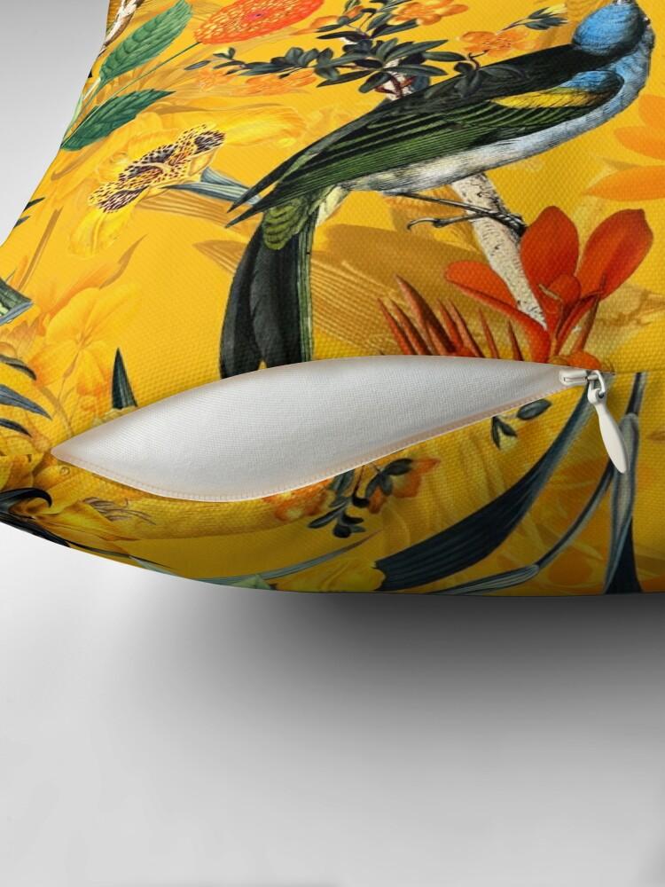 Alternate view of Pierre Joseph Redoute vintage flowers and hummingbirds nostalgic pattern Throw Pillow