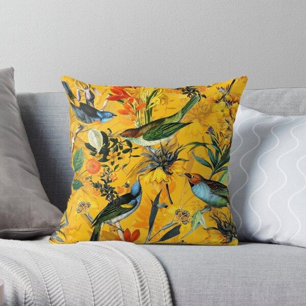 Pierre Joseph Redoute vintage flowers and hummingbirds nostalgic pattern Throw Pillow