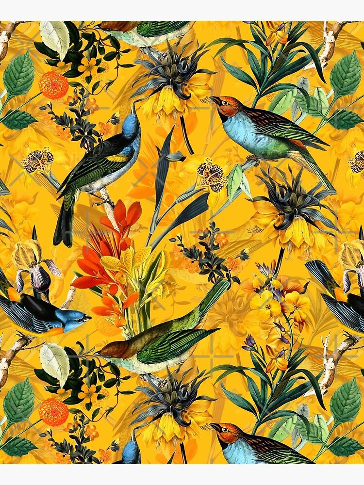 Pierre Joseph Redoute vintage flowers and hummingbirds nostalgic pattern by UtArt