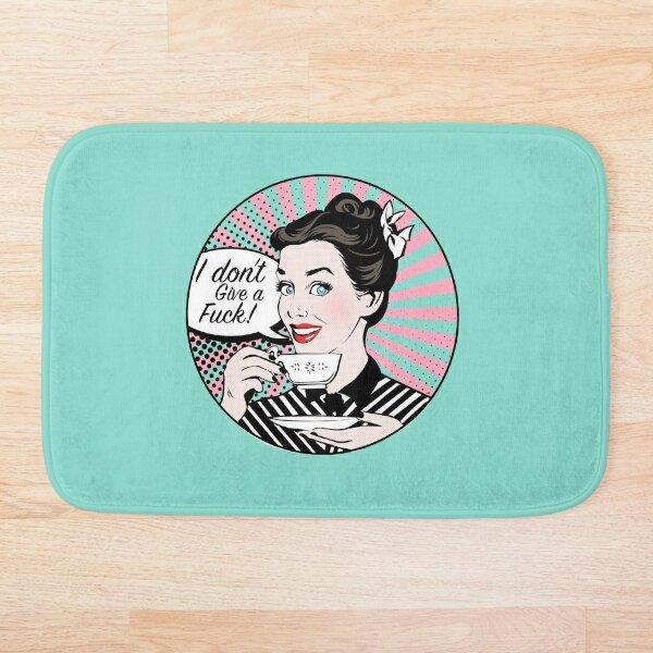Pop Art retro woman IDGAF feminist Sticker Bath Mat