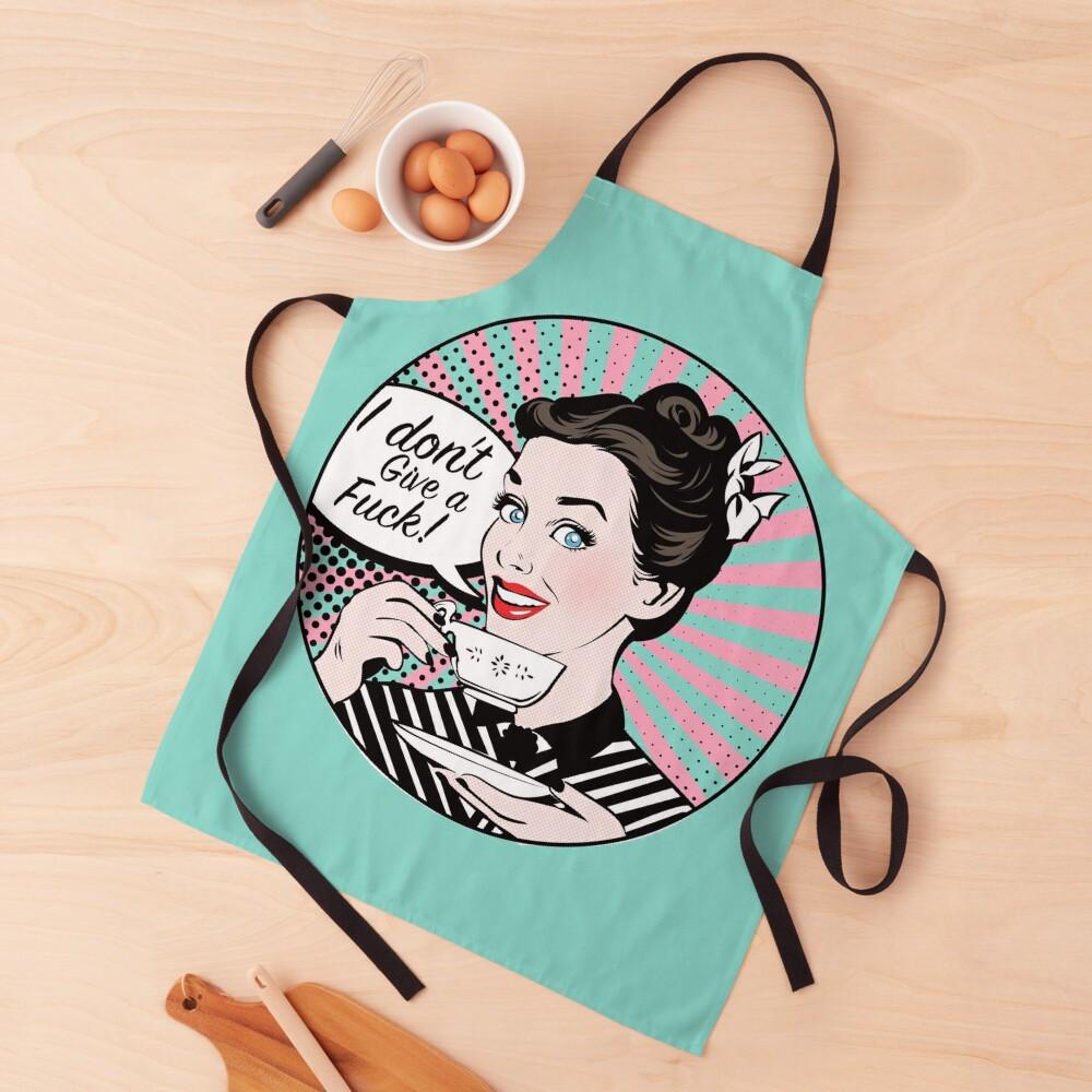 Pop Art retro woman IDGAF feminist Sticker Apron