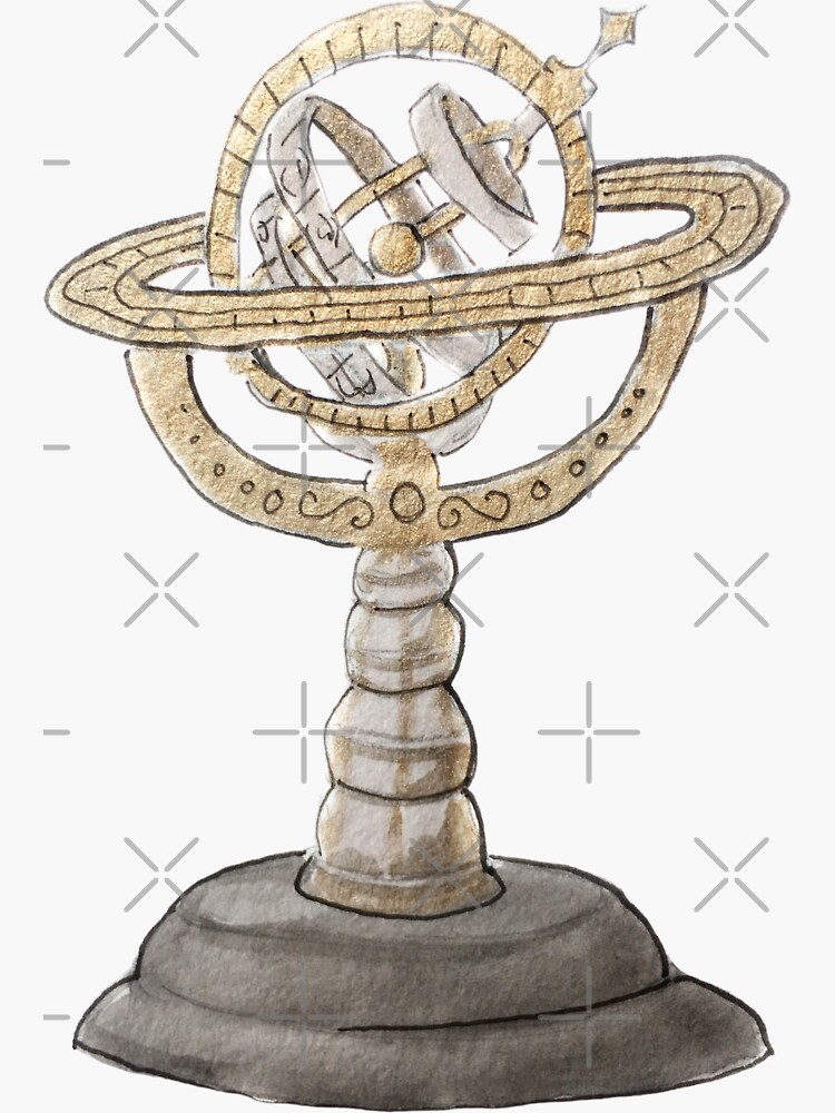 Gold and Black Astrolabe Illustration in Watercolor by WitchofWhimsy