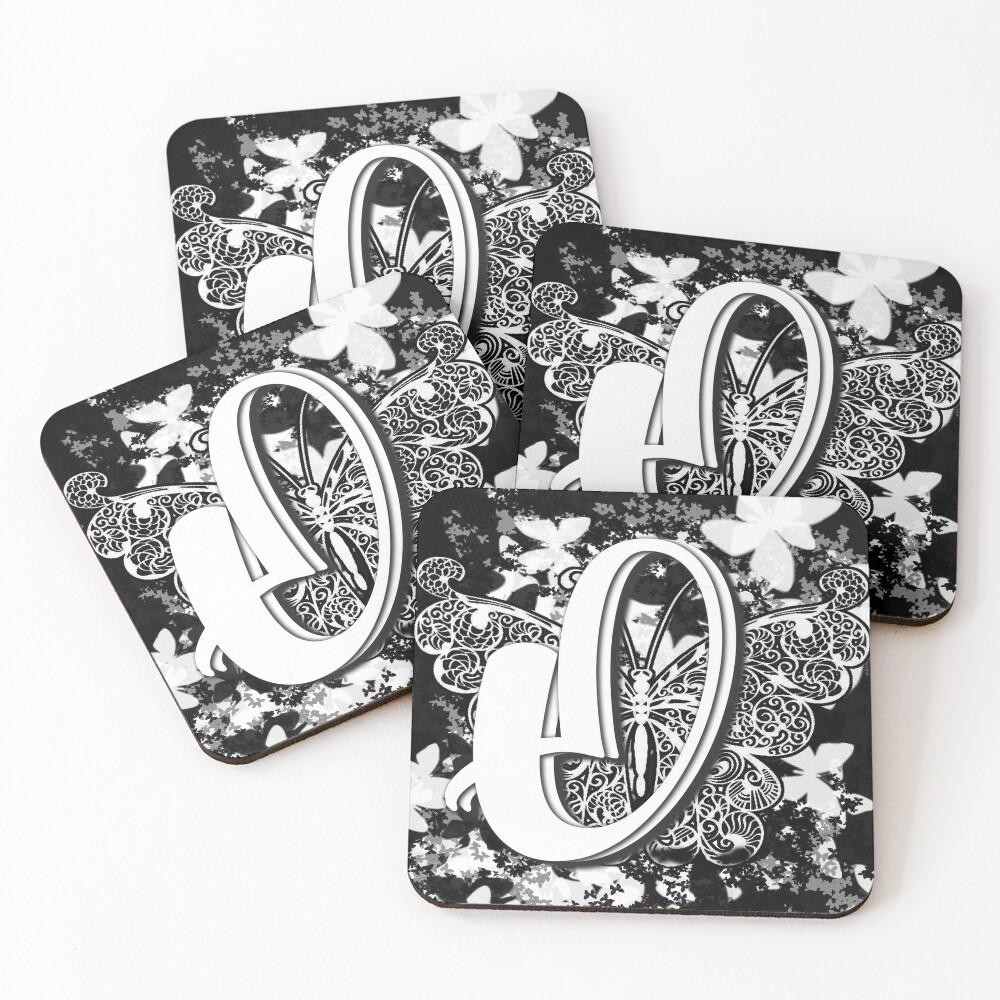 The Letter O: Decorative Monogram Single Initial Coasters (Set of 4)
