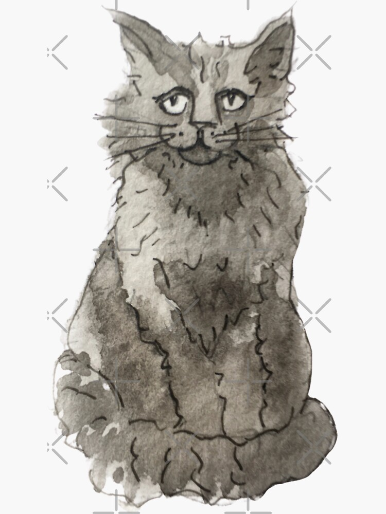Witchy Black Cat Illustration in Watercolor  by WitchofWhimsy