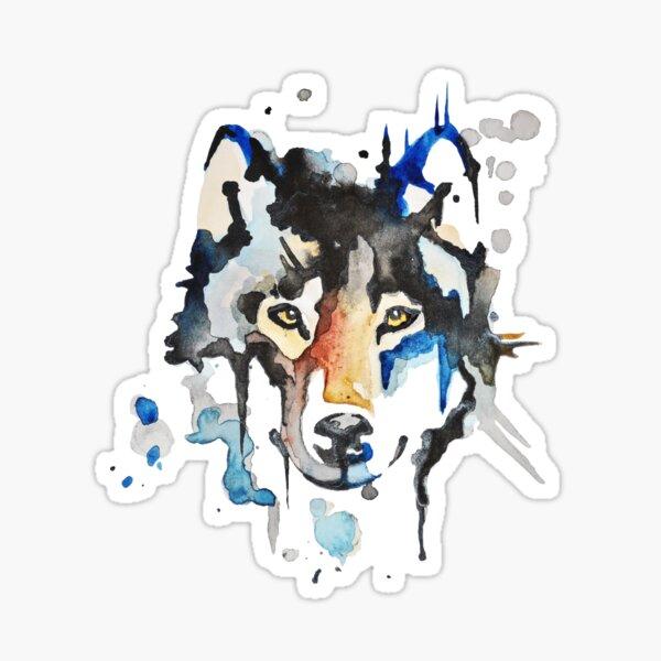 Loup aquarelle Sticker