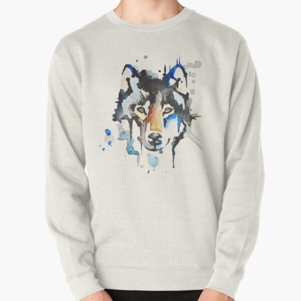 Watercolour Wolf Pullover Sweatshirt
