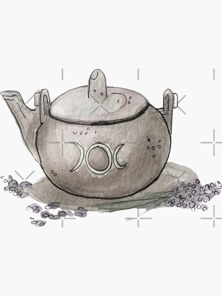 Lavender Tea in a Silver Kettle with Moon Insignia Illustration in Watercolor  by WitchofWhimsy