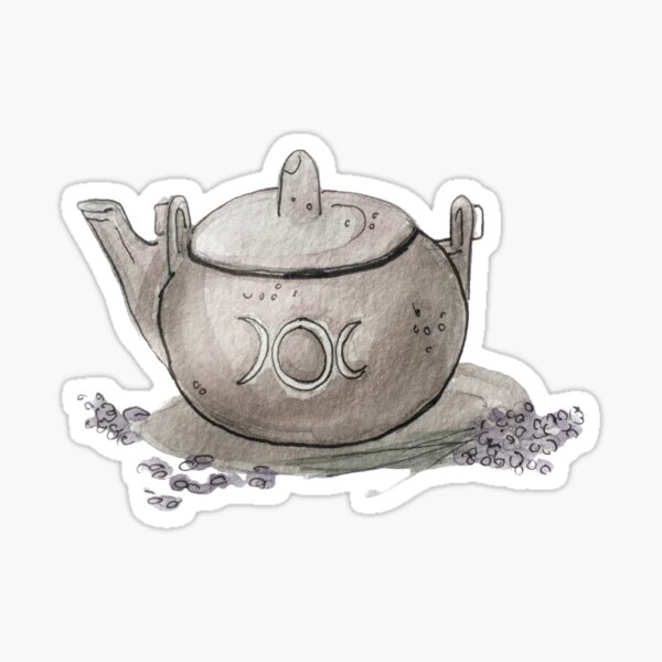 Lavender Tea in a Silver Kettle with Moon Insignia Illustration in Watercolor  Sticker