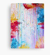 HAPPY TEARS - Bright Cheerful Rainy Day Abstract, Pretty Feminine Whimsical Acrylic Fine Art Painting Canvas Print