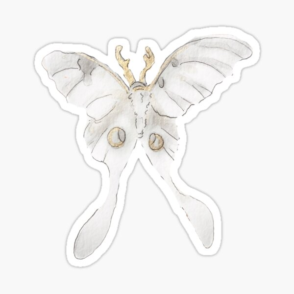Gold Gilded Lunar Moth Illustration in Watercolor Sticker