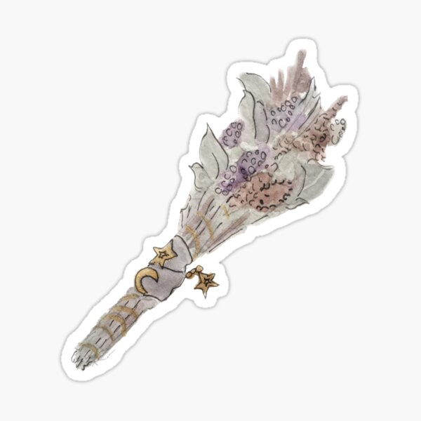 Lunar Smudge Sticker with Lavender and Pendants Illustration in Watercolor Sticker