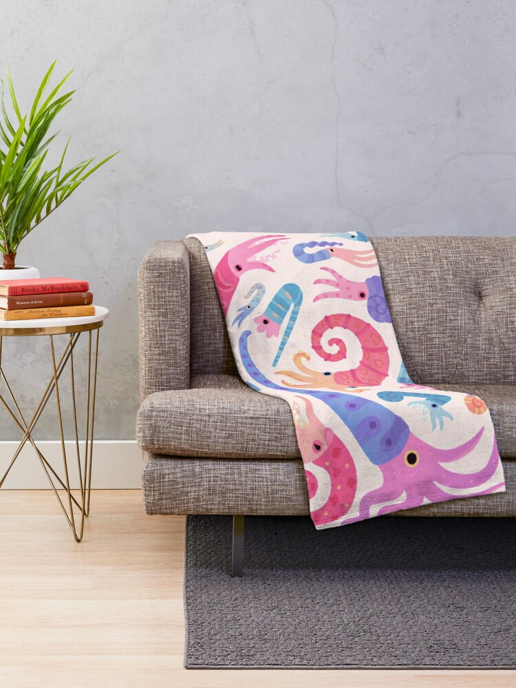 Alternate view of Ancient cephalopods Throw Blanket