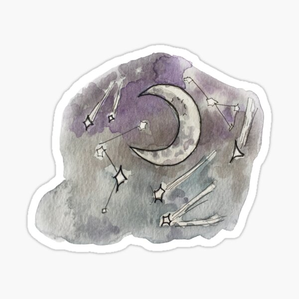 Whimsical Night Sky with Constellations Illustration in Watercolor Sticker