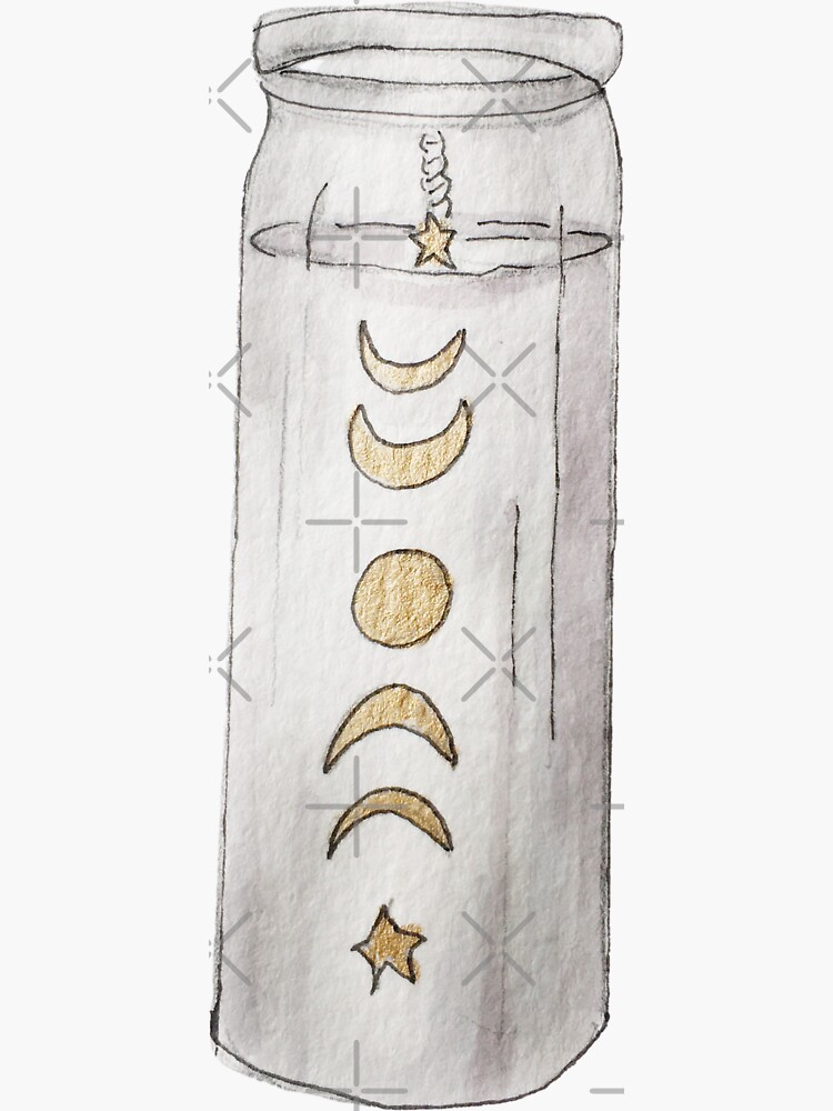 White Pillar Candle with Lunar Cycle in Gold Illustration in Watercolor by WitchofWhimsy