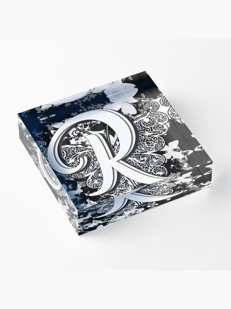Alternate view of The Letter R: Decorative Monogram Single Initial Acrylic Block