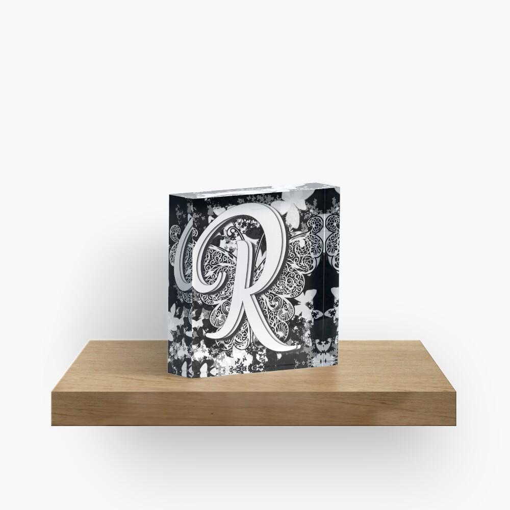 The Letter R: Decorative Monogram Single Initial Acrylic Block
