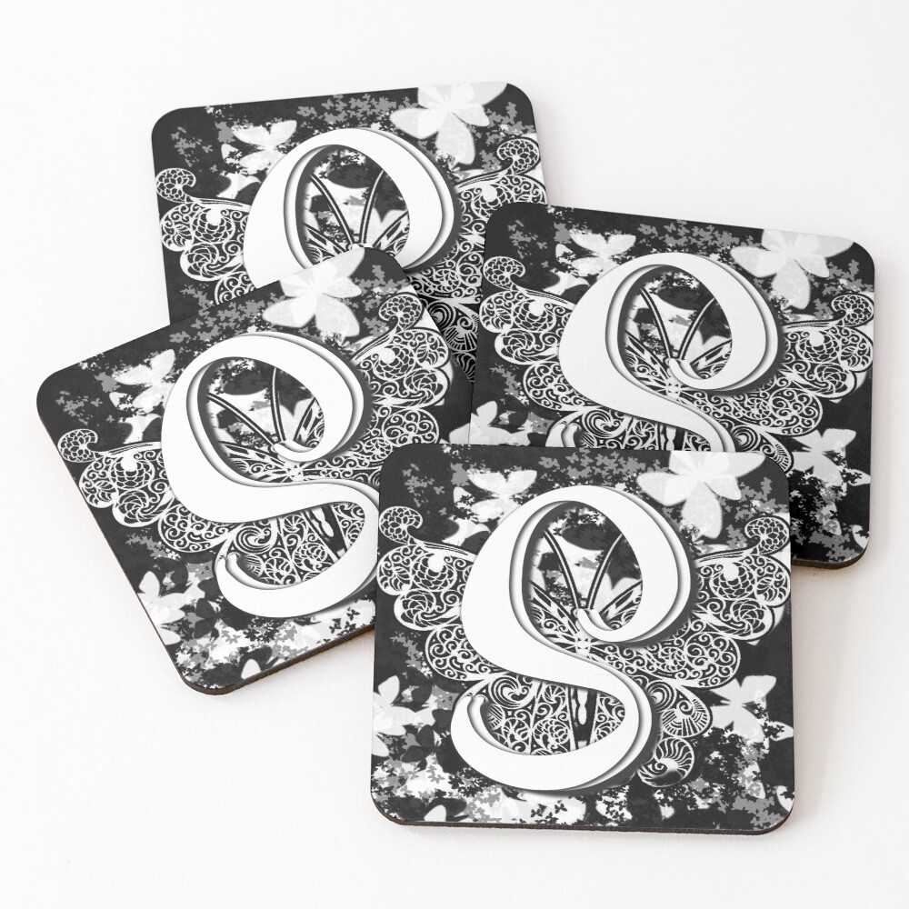 The Letter S: Decorative Monogram Single Initial Coasters (Set of 4)