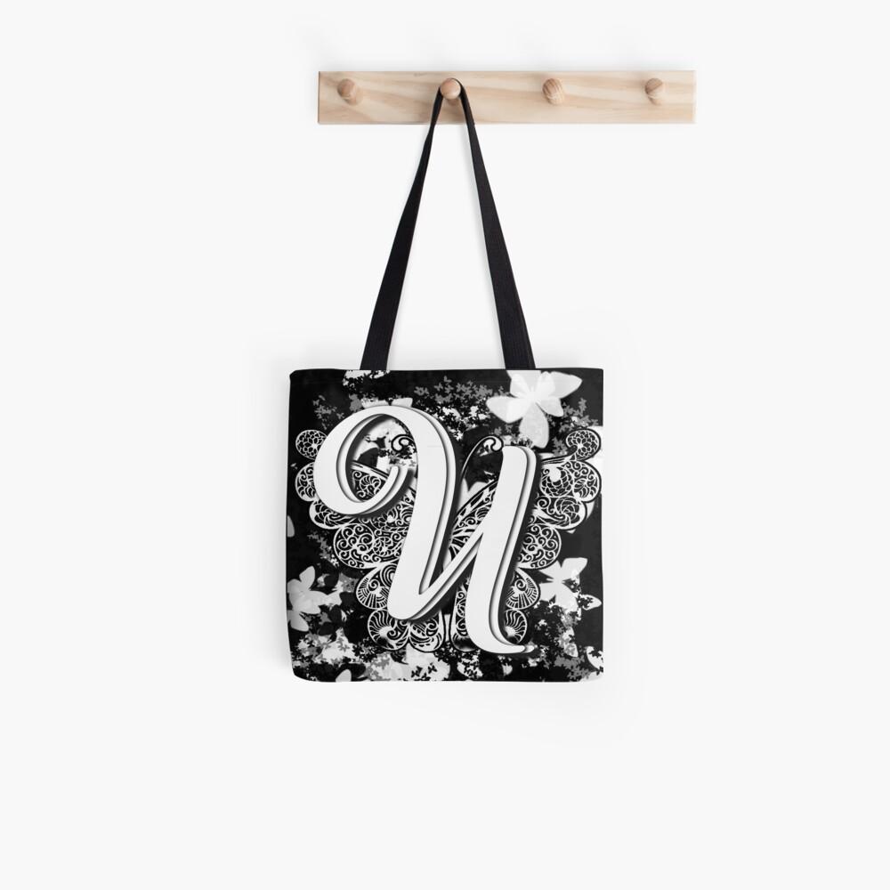 The Letter U: Decorative Monogram Single Initial Tote Bag