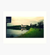 Chateau Overlooking Pond Art Print