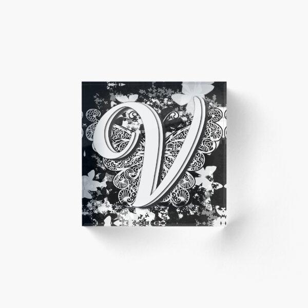 The Letter V: Decorative Monogram Single Initial Acrylic Block