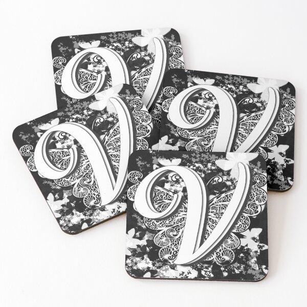 The Letter V: Decorative Monogram Single Initial Coasters (Set of 4)