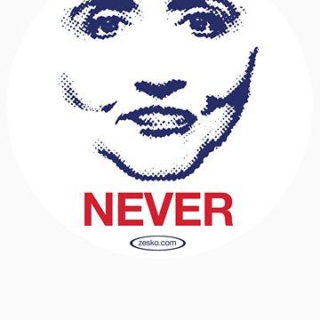 Hillary NEVER by Zesko