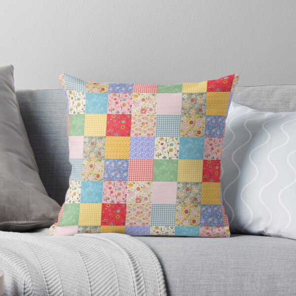 Happy Cottage Patchwork Throw Pillow