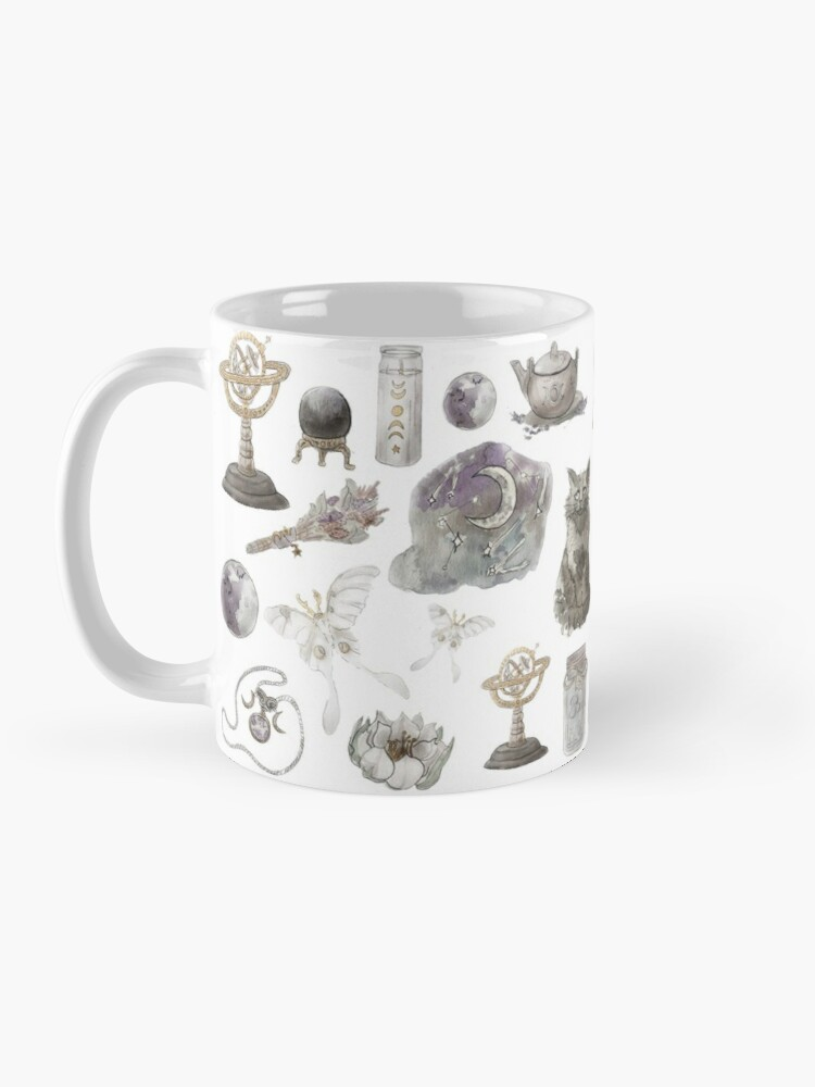 Alternate view of Lunar Witch Aesthetic Pattern - Wrap Around with White Background Mug