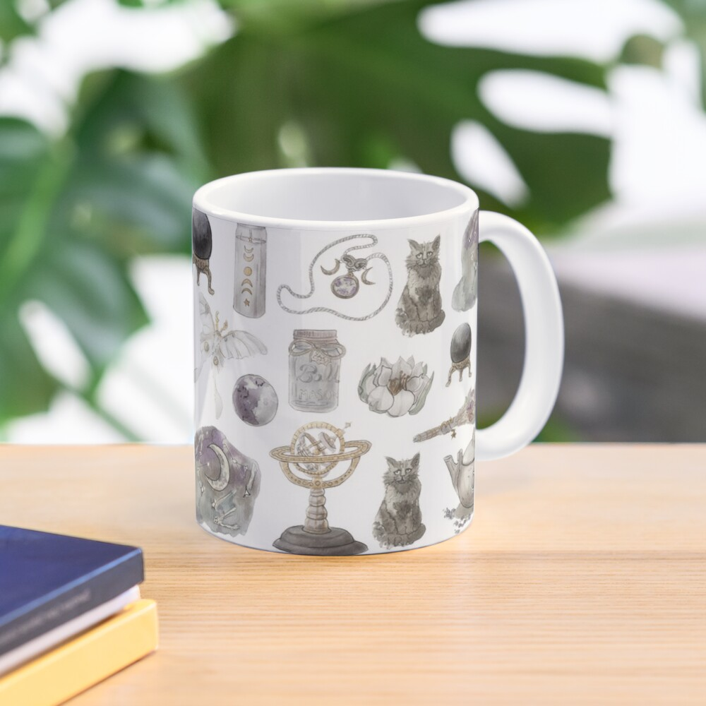 Lunar Witch Aesthetic Pattern - Wrap Around with White Background Mug