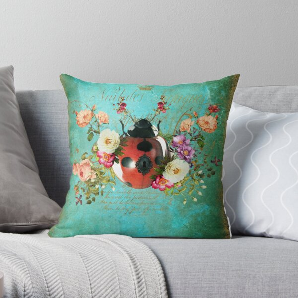 Lady Bug Luck Portrait Throw Pillow