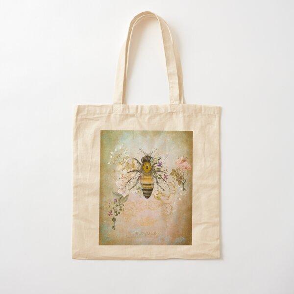 Honey Bee Vintage Portrait Style Cotton Tote Bag