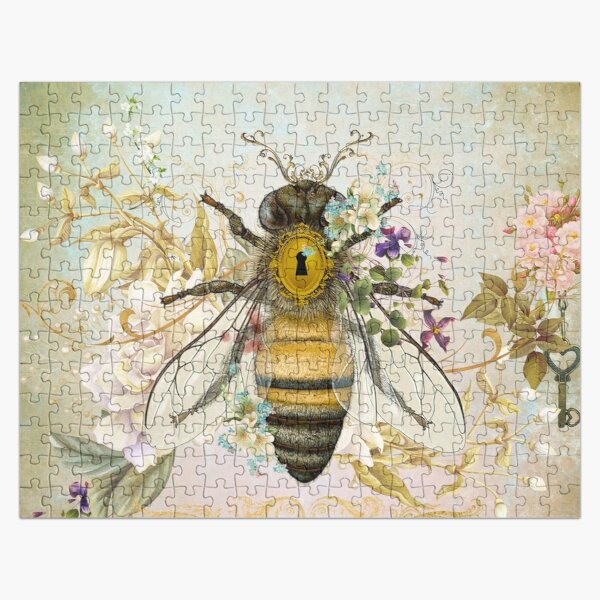 Honey Bee Vintage Portrait Style Jigsaw Puzzle
