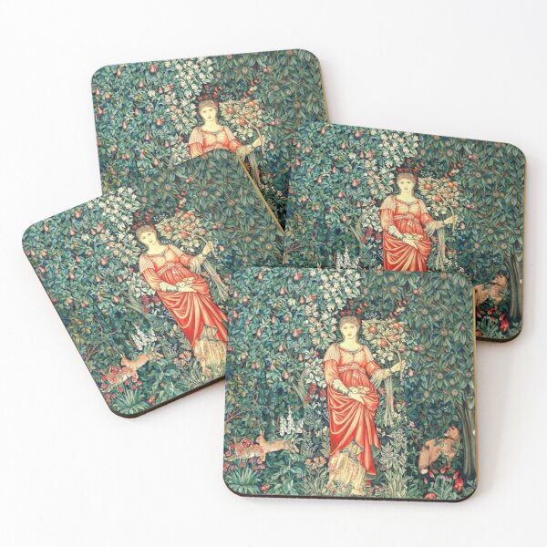 POMONA GODDESS OF ABUNDANCE HOLDING FRUITS IN GREENERY, FOREST ANIMALS Fox,Hares Red Blue Green Floral Coasters (Set of 4)