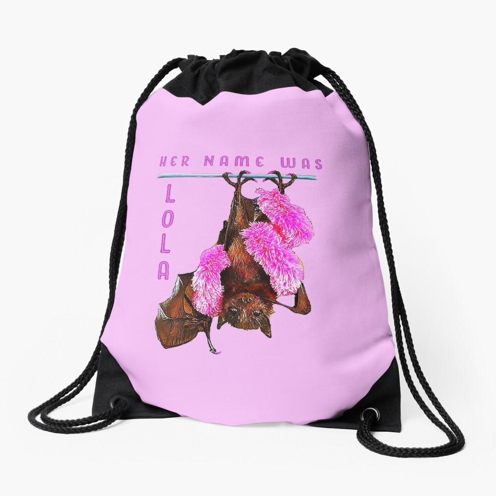 Batzilla - Lola the Showbat Pink background Drawstring Bag