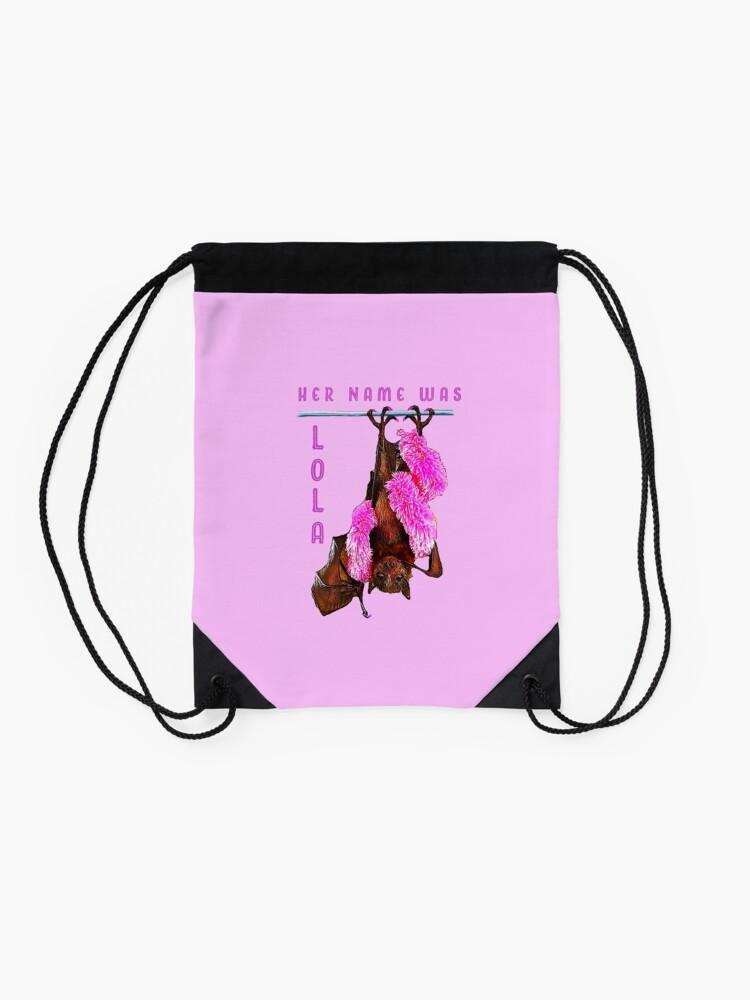 Alternate view of Batzilla - Lola the Showbat Pink background Drawstring Bag
