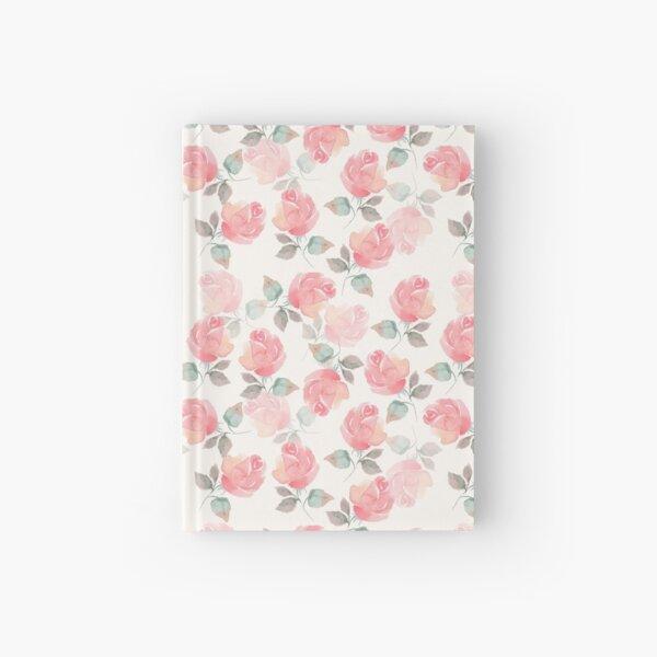 Beautiful delicate roses. Seamless watercolor pattern Hardcover Journal