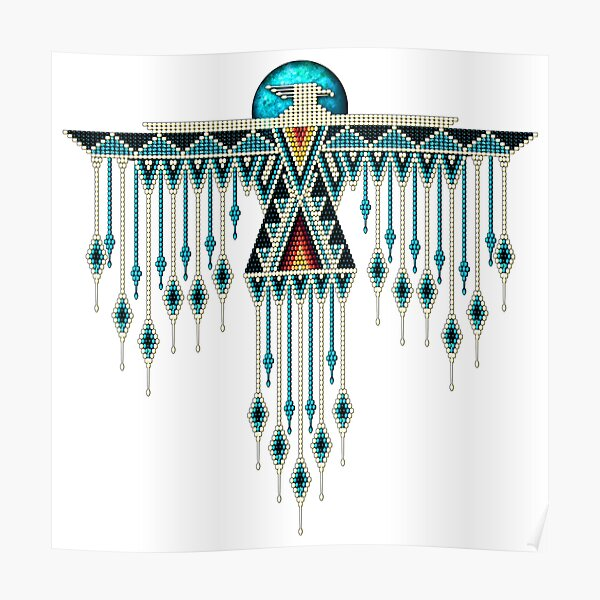 Native American Southwest-Style Turquoise Thunderbird Poster