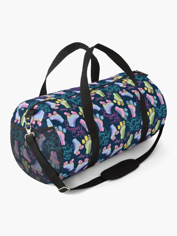Alternate view of Roller Skates Pattern (Navy Background) Duffle Bag