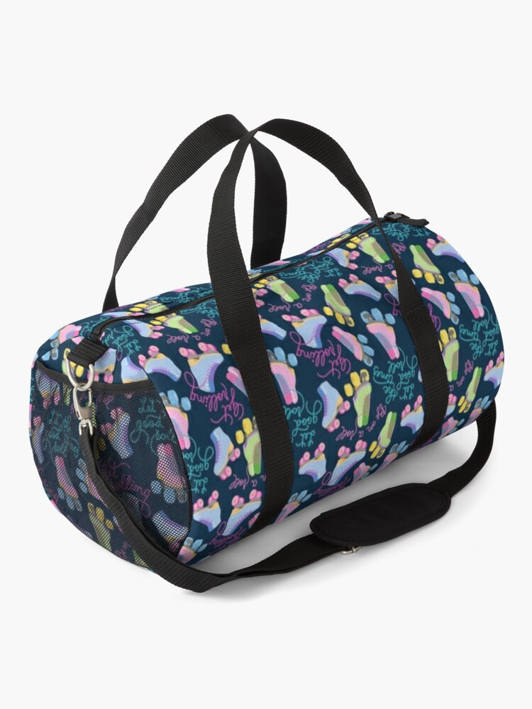 Alternate view of Roller Skates Pattern (Navy Background) Duffle Bag